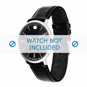 Movado watch strap 0607086 Leather Black 20mm + standard stitching