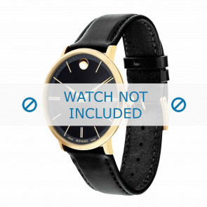 Movado watch strap 0607087 Leather Black 20mm + standard stitching