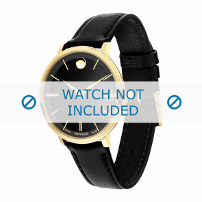 Movado watch strap 0607091 Leather Black 16mm + standard stitching