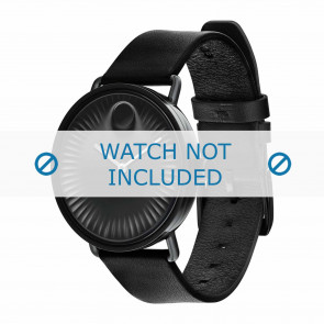 Movado watch strap 3680039 Leather Black 20mm