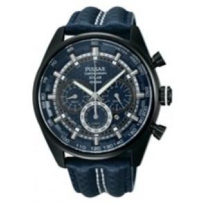 Watch strap Pulsar VS75-X004 / PX5043X1 Leather Blue 24mm