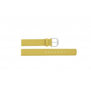 Q&Q watch strap QQ14LDYGS Leather Yellow 14mm + white stitching