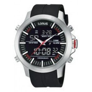 Watch strap Lorus Z021-X002-RW607AX9 Rubber Black
