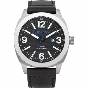 Watch strap Superdry SYG144BB Leather Black 24mm