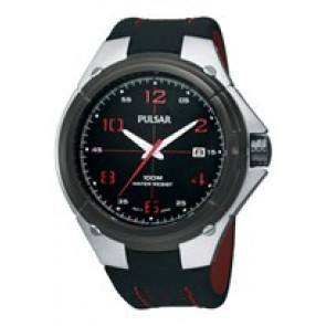 Watch strap Pulsar VX42-X283-PXH797X1 Leather Black