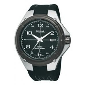 Watch strap Pulsar VX42-X283-PXH799X1 Leather Black
