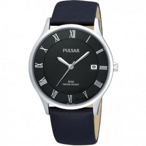 Watch strap Pulsar VX42-X355 Leather Black 20mm