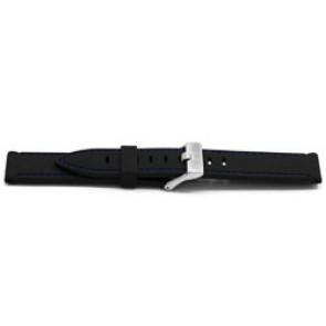 Watch strap Rubber 22mm Black + blue stitching EX XH17