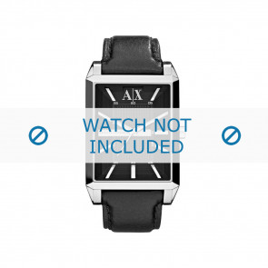 Armani watch strap AX-2113 Leather Black 24mm + black stitching