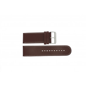 Prisma watch strap 28BR Leather Brown 28mm + white stitching