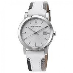 Watch strap Burberry BU9019 Leather White