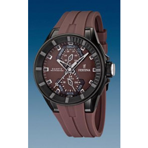 Festina watch strap F16612/2 Rubber Brown 18mm