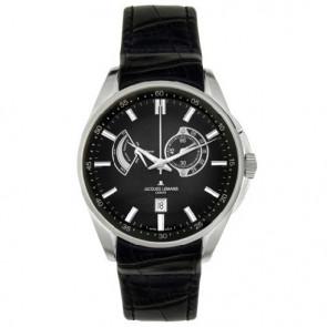 Jacques Lemans watch strap G175 Leather Black 22mm + black stitching