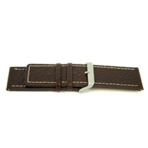 Genuine leather watch band brown with white stitching 30mm H79