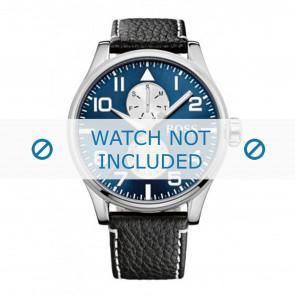 Hugo Boss watch strap HB-88-1-14-2734 / HB1513084 Leather Black 24mm + white stitching