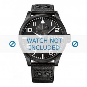 Hugo Boss watch strap HB-88-1-34-2733 / HB1513083 Leather Black 24mm + black stitching
