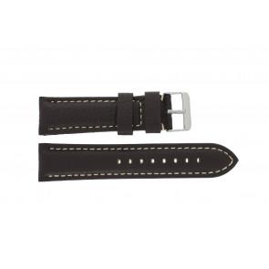 Watch strap H038 XL Leather Dark brown 22mm + white stitching