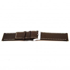 Watch strap N310 Leather Dark brown 34mm + white stitching