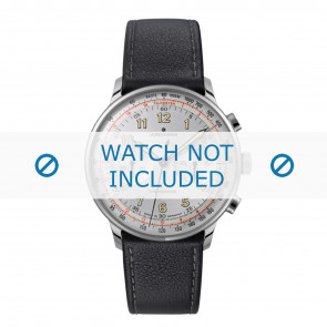 Junghans watch strap 027/3380.00 Leather Black 21mm + standard stitching