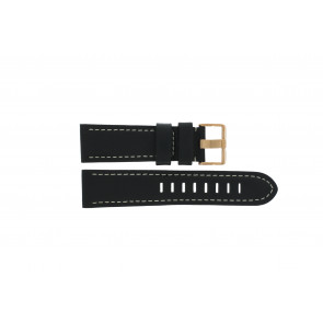 Prisma watch strap LEDZWR Leather Black 23mm + white stitching