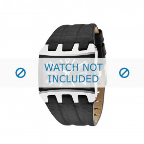 Police watch strap 13420js/02A Smooth leather Black