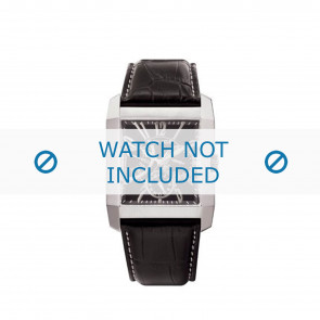 Police watch strap PL-10966MS/02 Leather Black + white stitching