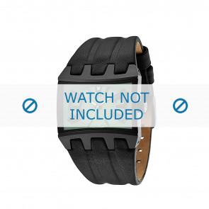Police watch strap 13420JS-05B Leather Black
