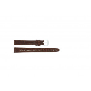 Leather watch strap croco varnish brown 10mm 082