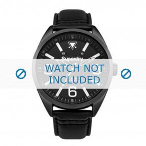 Superdry watch strap SYG199BB Leather Black + black stitching