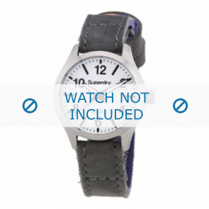 Watch strap Superdry SYL113E Leather Grey 16mm