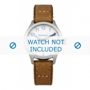 Superdry watch strap SYL114TV Leather Brown + brown stitching