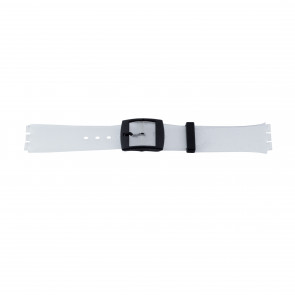 Watch strap Swatch 51.00 Rubber White 17mm
