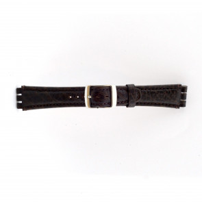 Strap for Swatch genuine leather dark brown 19mm 21412
