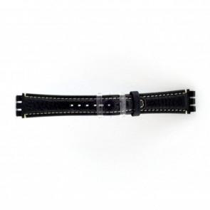 Genuine leather watch strap for Swatch dark blue / gray 19mm ES- 3.05