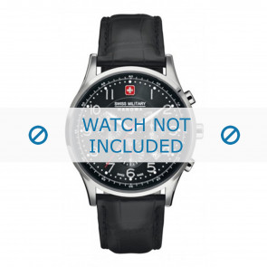 Watch strap Swiss Military Hanowa 06-4187.04.007 Leather Black 22mm