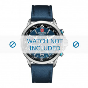 Swiss Military Hanowa watch strap 06-4224.04.003 Leather Blue 22mm + blue stitching