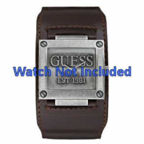 Guess watch strap W90025G1 / W0418G1 Leather Brown 32mm