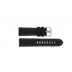 Prisma watch strap ZWST23 Leather Black 23mm + white stitching